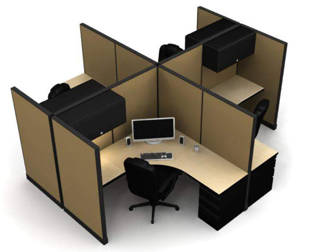 "4 Pack Private 6x6 Workstations with 65"" Panels - Online Office Furniture"