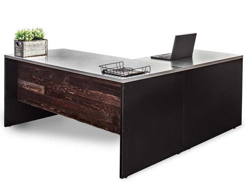 L Shape Stainless Steel Desk with Reclaimed Wood Modesty