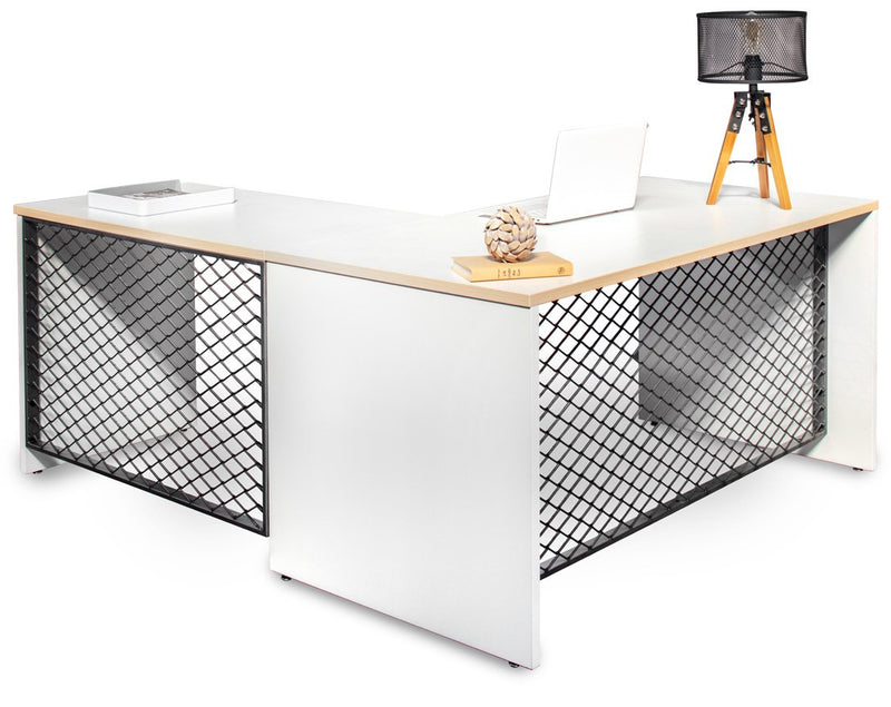 L Shape Desk with hutch and file storage- white shell and wood trim