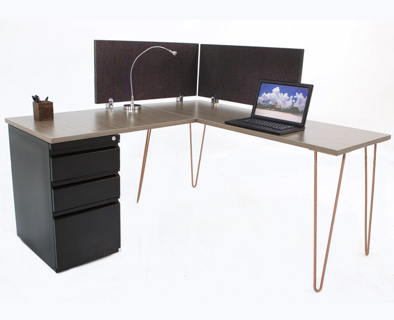 L Shape Modern Hairpin Desk with Storage - Online Office Furniture