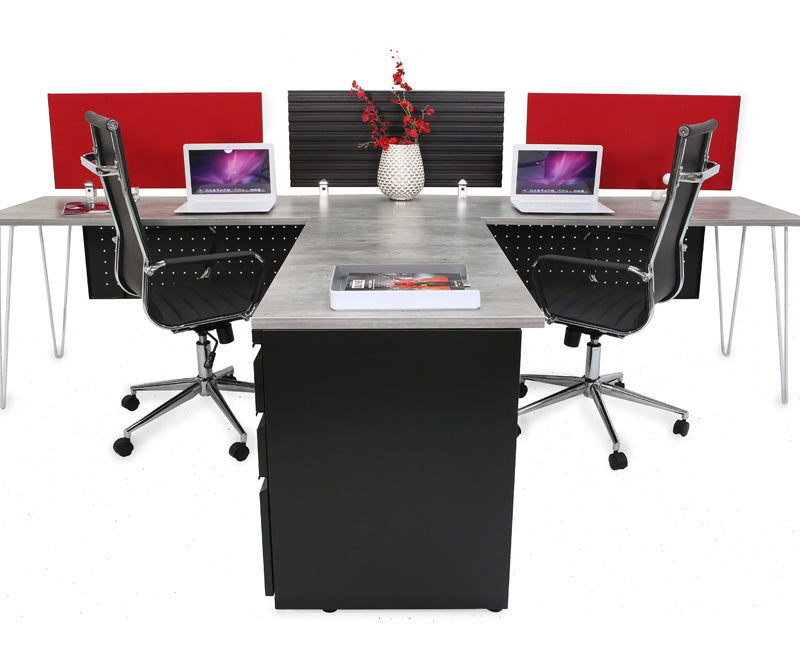 Industrial Modern Double Workstation with Storage - Online Office Furniture