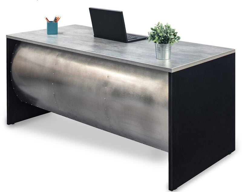 Barrel Front Desk - Stainless Steel