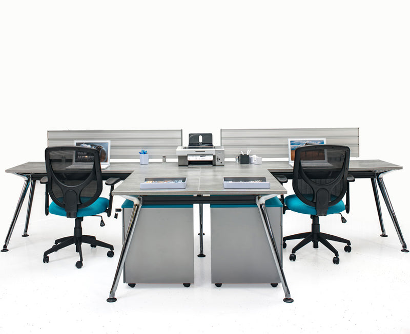 Chroma Quad Workstation with Return - Online Office Furniture