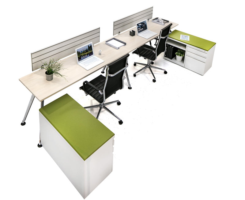 Chroma double workstation with storage - Online Office Furniture