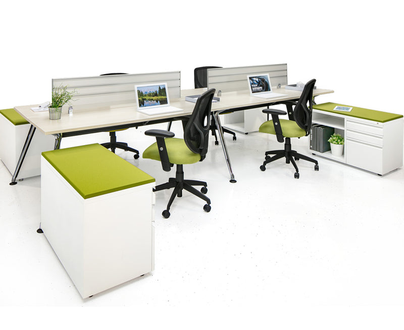 Chroma quad workstation with Storage - Online Office Furniture