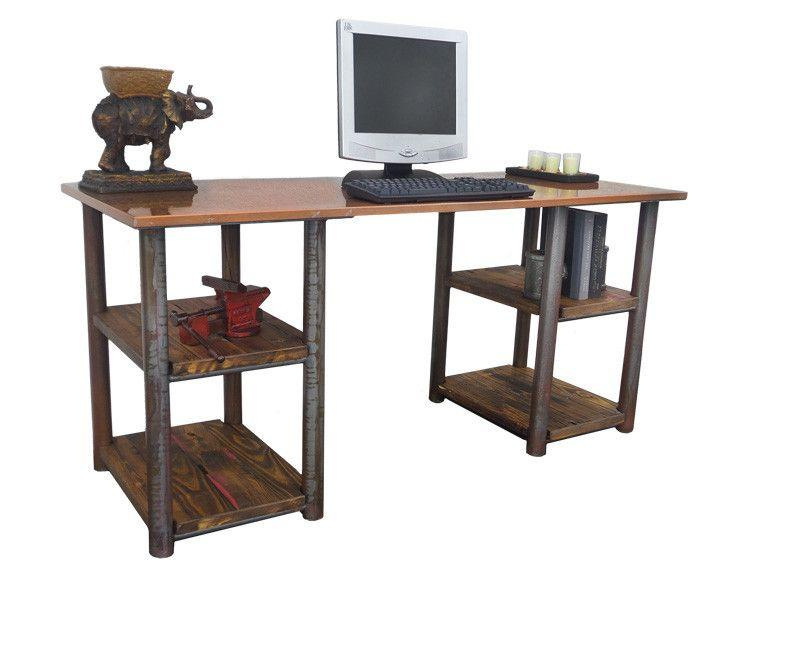 Rustic Double Shelf Writing Desk - Online Office Furniture