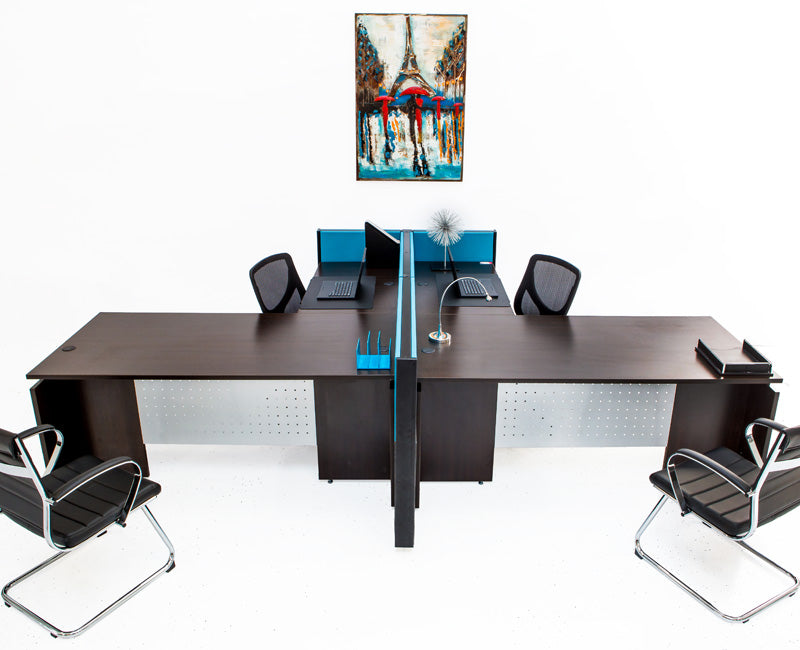 L Shaped Desks with File Pedestals and Divider Panels - Online Office Furniture