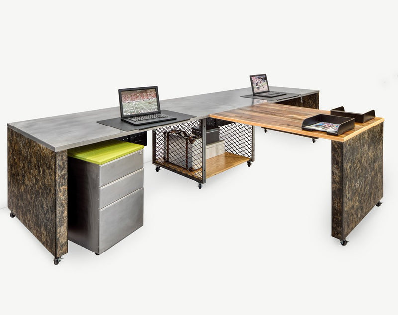 Industrial 2 Pack Desks with Storage and Return - Online Office Furniture