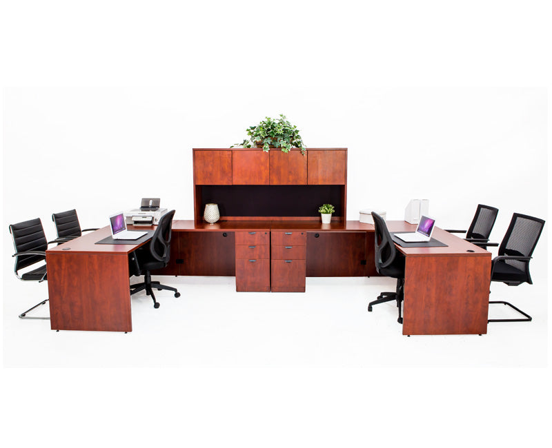 Double L shaped Desk with File Pedestals and Hutch - Cherry - Online Office Furniture