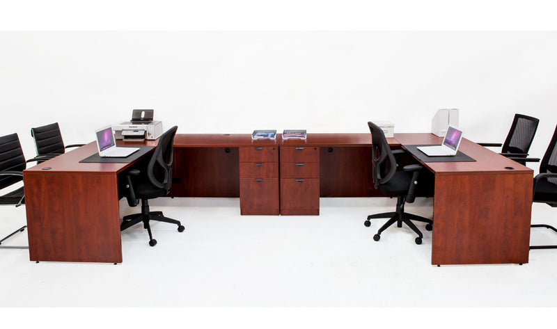 Double L shaped Desk with File Pedestals - Cherry - Online Office Furniture