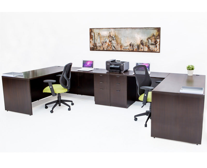 Double L shaped Desk with File Pedestal - Espresso - Online Office Furniture