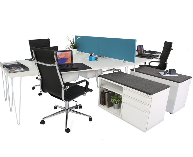 Hairpin Quad Workstation - Online Office Furniture