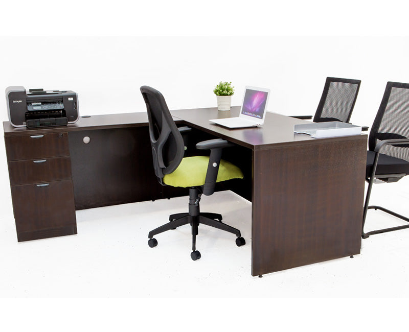 L Shaped Espresso Desk with File Pedestal - Online Office Furniture