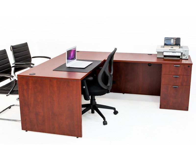 L Shaped Desk with File Pedestal - Cherry - Online Office Furniture