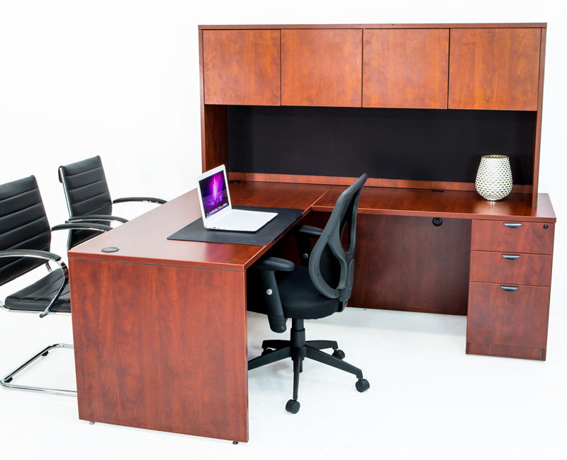 L Shaped Desk with File Pedestal and Hutch - Cherry - Online Office Furniture