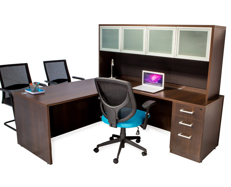 L Shaped Desk with File Pedestal and Hutch - Dark Teak - Online Office Furniture