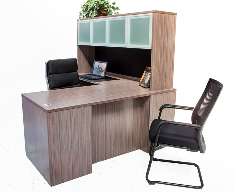 L Shaped Desk with File Pedestal and Hutch - Driftwood - Online Office Furniture