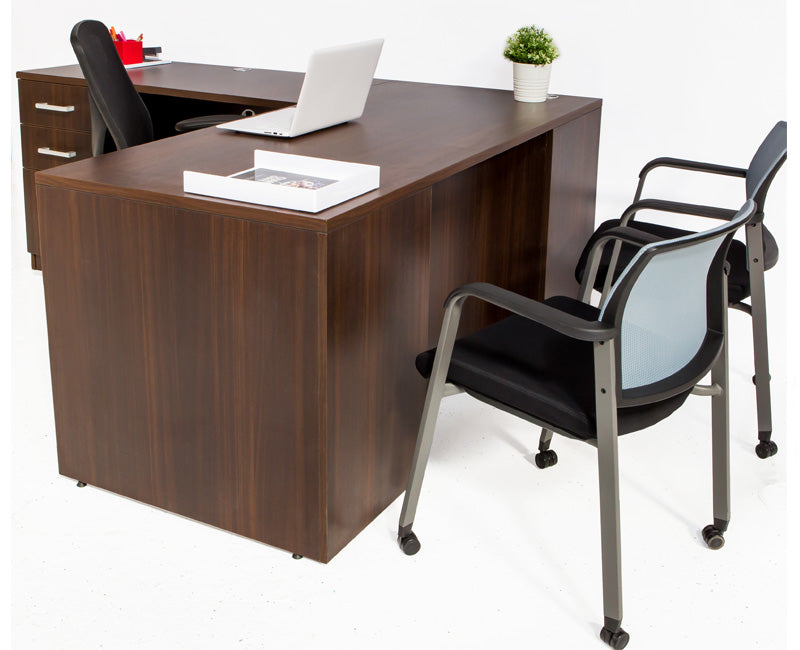 L Shaped Desk with File Pedestal - Dark Teak - Online Office Furniture