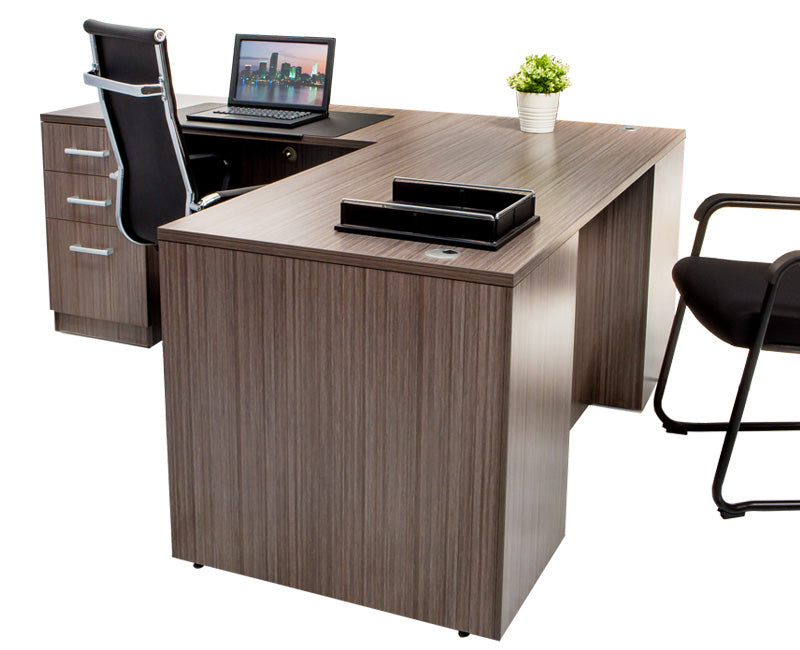 L Shaped Desk with File Pedestal - Driftwood - Online Office Furniture