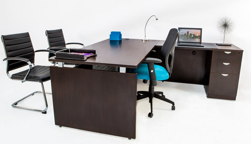L Shaped Desk with File Pedestal - Espresso - Online Office Furniture