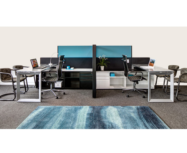 2 Person Modern Side-by-Side Workstations with Panels - Online Office Furniture