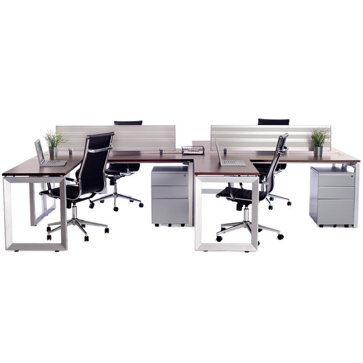 4 Pack Options Workstations with Return - Online Office Furniture