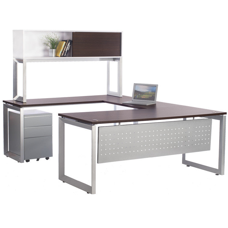 Options Desk with Bridge, Return, Credenza and Overhead Storage - Online Office Furniture