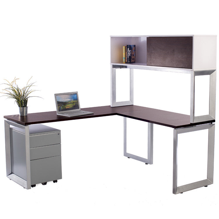 Options L shaped Desk with file and Overhead Storage - Online Office Furniture