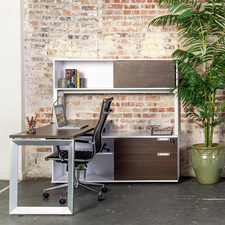 Options Straight Desk with Low Credenza and Overhead Storage