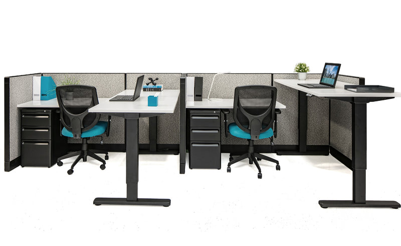 Sit/Stand Adjustable Height Workstations with Storage - Online Office Furniture
