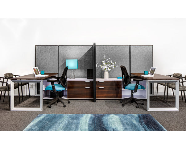 2 Person Steelcase Side-by-Side Workstations with Storage - Online Office Furniture