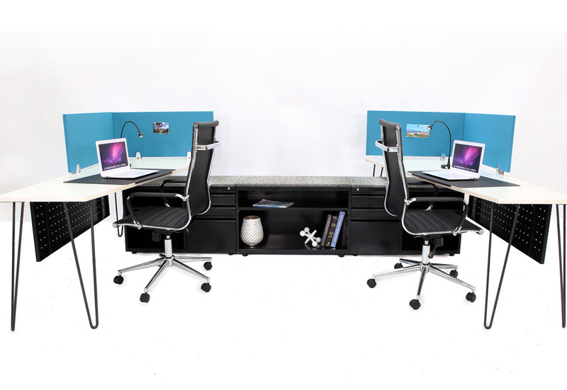 Topline Double Workstation with Storage - Online Office Furniture