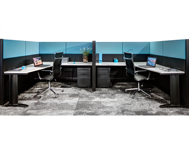 2 Person Side-by-Side Workstations with Panels and File Ped - Online Office Furniture