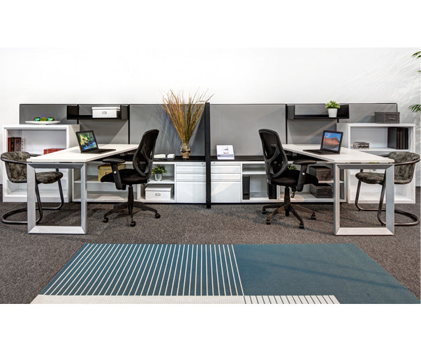 2 Person Double Workstation with Lots of Storage - Online Office Furniture