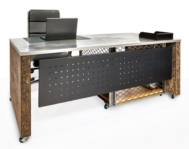 Industrial Executive Desk on Casters with Storage - Online Office Furniture