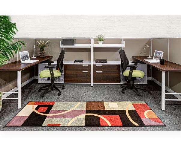 Double Side-by-Side Workstation with Panels - Online Office Furniture