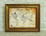 Bespoke Antique Style World Push Pin Travel Map