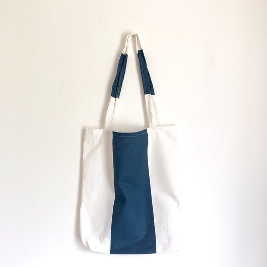 Blue and White Stripe Tote Bag