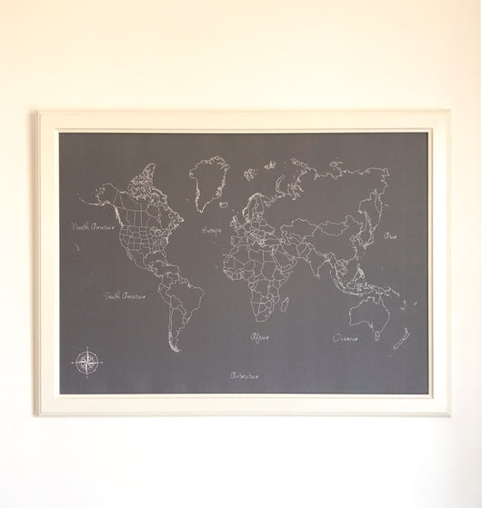 Grey and White World Push Pin Map