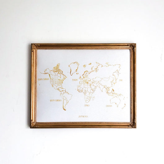 Gold and White World Push Pin Map