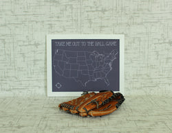 Custom Baseball Fan Push Pin Map of MLB Ballparks