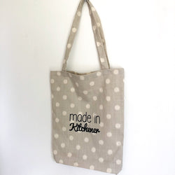 Grey with White Dots Made in Kitchener Tote Bag