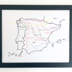 Camino Trail Map Prints - Framed