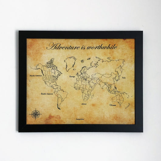 Adventure is Worthwhile - Framed World Push Pin Map