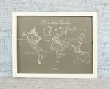 Bespoke Modern Style World Push Pin Travel Map