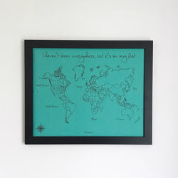 For Shannon: Turquoise and Black World Push Pin Map with Sailboat and Airplane Pins
