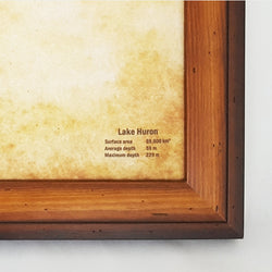Lake Huron Push Pin Map - Framed and Ready to Ship