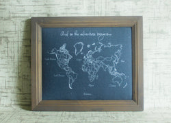 Custom Modern Style World Push Pin Travel Map