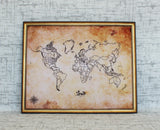 Custom Antique Style World Push Pin Travel Map