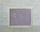 Bespoke Whimsical Style World Push Pin Travel Map